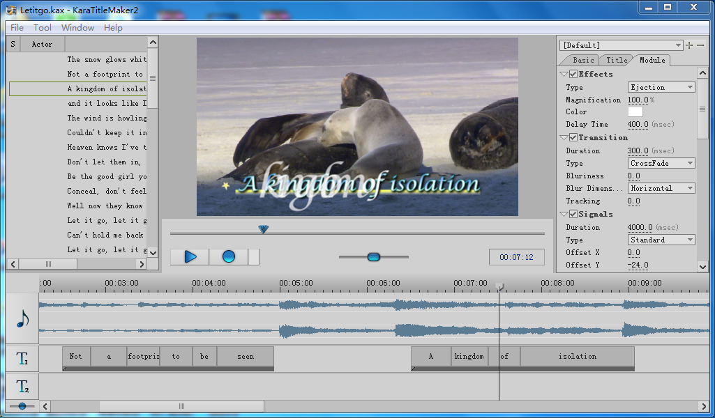 Video subtitle editing tool for karaoke songs